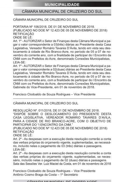 CRIME: Em Cruzeiro do Sul, Romário Tavares recebe diárias como se
